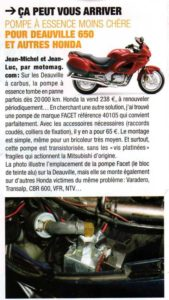 Article du magazine Motomag pompe Facet 40105
